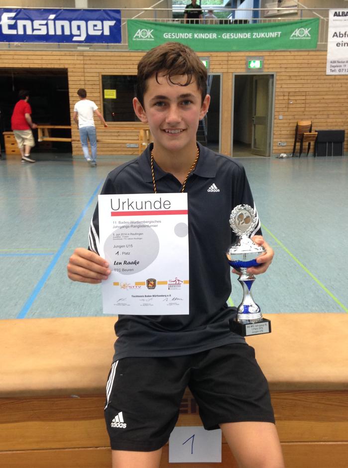 Len Raake Baden-Württembergischer Jungen U15 Ranglistensieger 2014