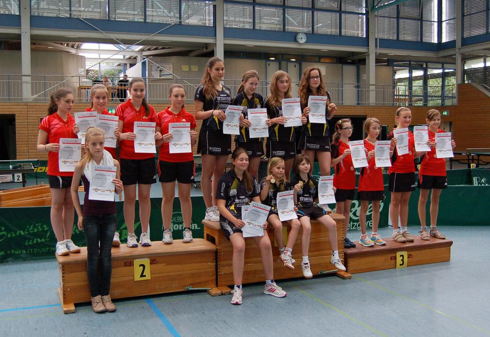 Siegerehrung Baden-Württembergische Mannschaftsmeisterschaft 2014 Mädchen U15